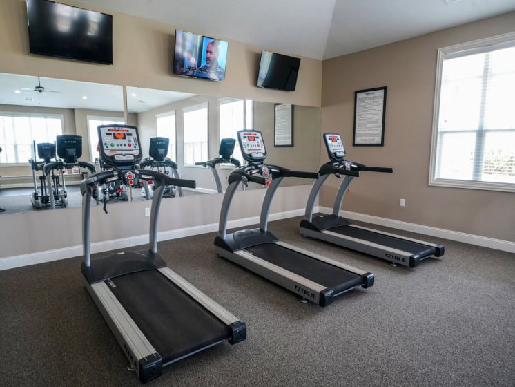 Fitness Center with Cardio Machines at Stoney Pointe Apartment Homes, Kansas 67226