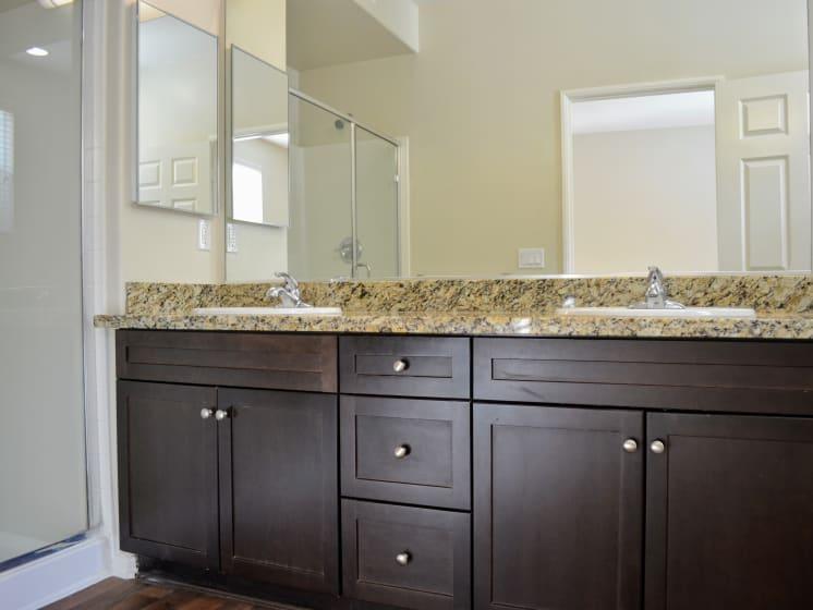 Granite bathroom countertop, at Union Place Apartment Homes, Placentia, CA