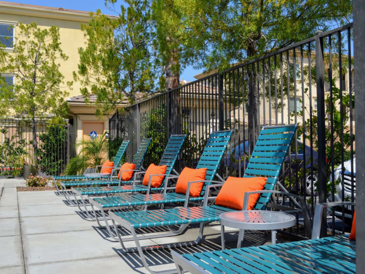 Sundeck with Lounge Chairs at Union Place Apartments, Placentia, California