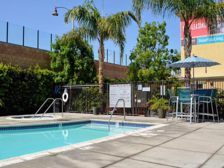 Deck and Lounge Area near Pool at Union Place Apartments, Placentia, CA