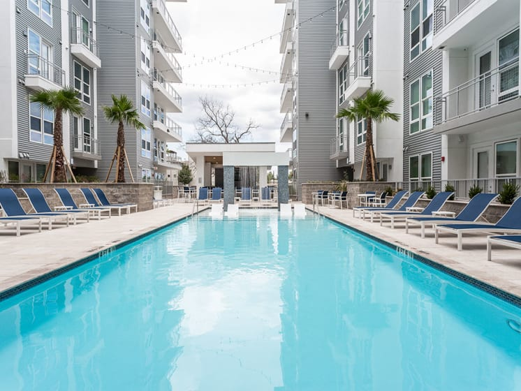 Sparkling Resort-Style Swimming Pool and Sp at Azure Houston Apartments, Houston, TX, 77007