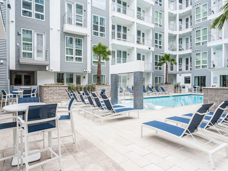 Pool Side Relaxing Area at Azure Houston Apartments, Houston, Texas
