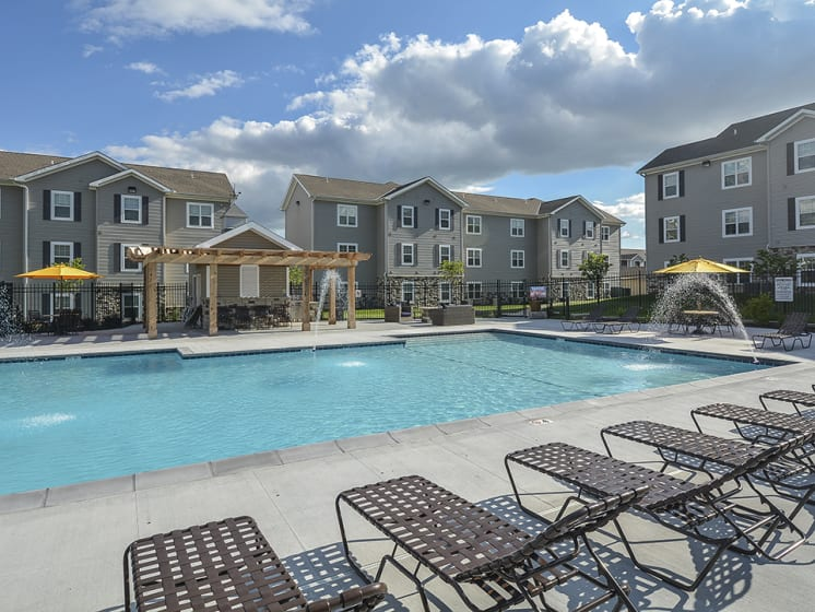 Outdoor Pool with Spacious Seating on Sundeck