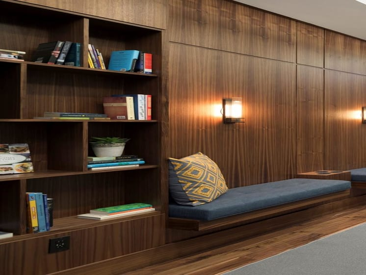 Bookcase in Lounge at The M on Hennepin Apartments in Minneapolis, MN