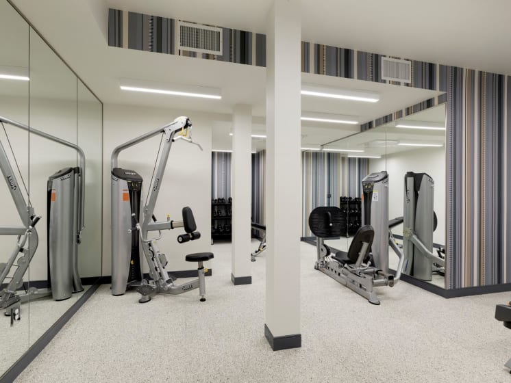 Fitness Center With Equipment at The M on Hennepin Apartments in Minneapolis, MN