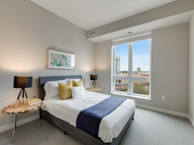 Master Bedroom With Natural Lighting at The M on Hennepin in Minneapolis, MN