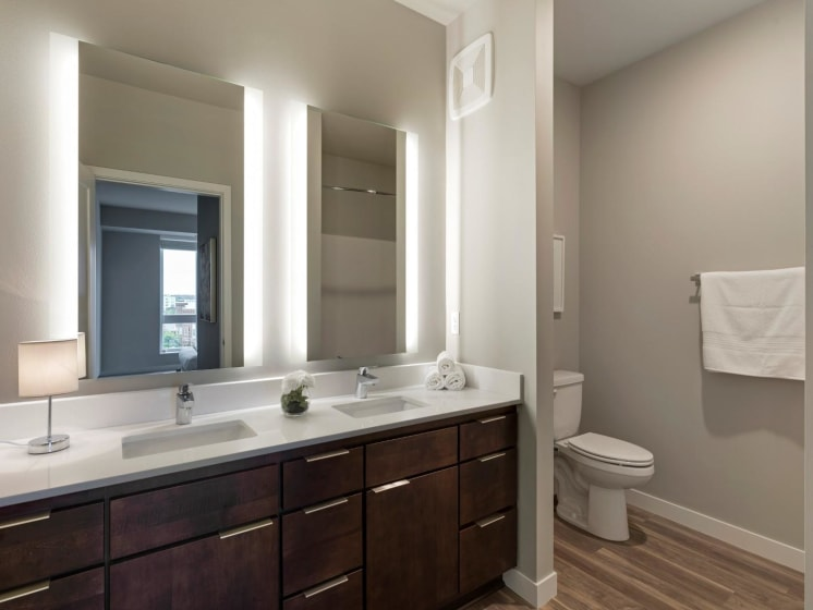 Bedroom With Double Vanity at The M on Hennepin in Minneapolis, MN