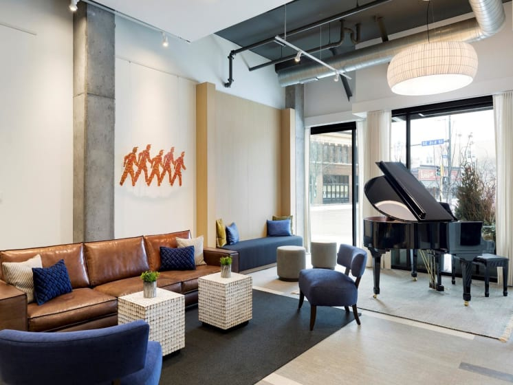 Lounge With Piano at The M On Hennepin Apartments in Minneapolis, MN