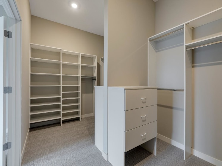 Large Walk-In Closet With Shelves and Organizers at The M on Hennepin in Minneapolis, MN