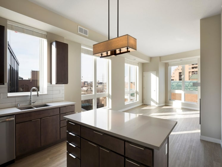 Kitchen Island With Drawer Space at The M on Hennepin in Minneapolis, MN