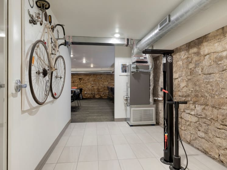 Bike Rack in Basement at The M on Hennepin Apartments in Minneapolis, MN