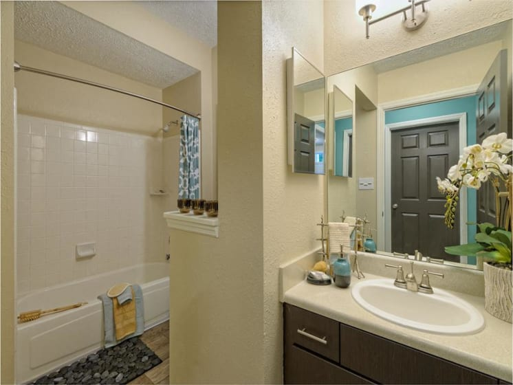 Bathroom view of sink and shower