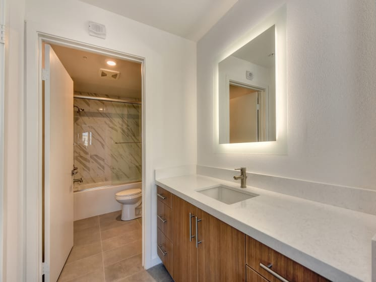Vacant Bathroom with Sink, Bathtub and Mirror with Light Built In