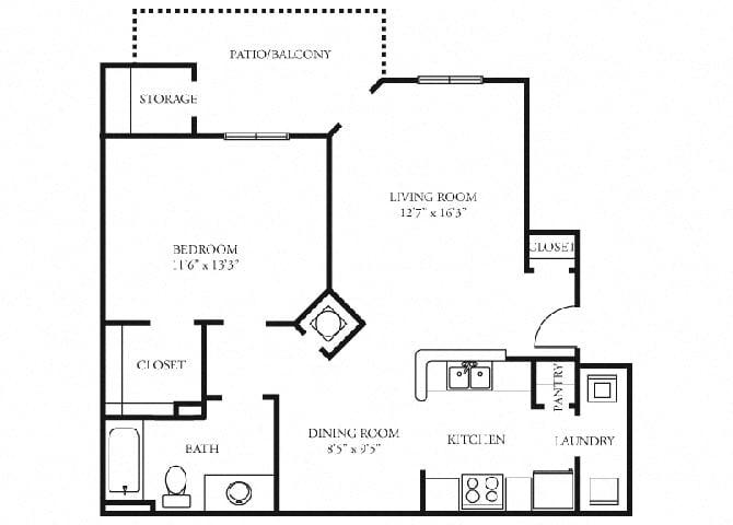 Carlyle 1 bedroom 1 bath floorplan tramore village austell ga