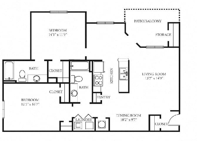 paramount 2 bedroom 2 bath floorplan tramore village austell ga