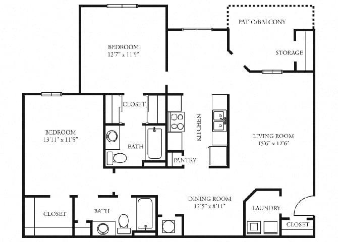 St. Claire 2 bedroom 2 bath floorplan tramore village austell ga