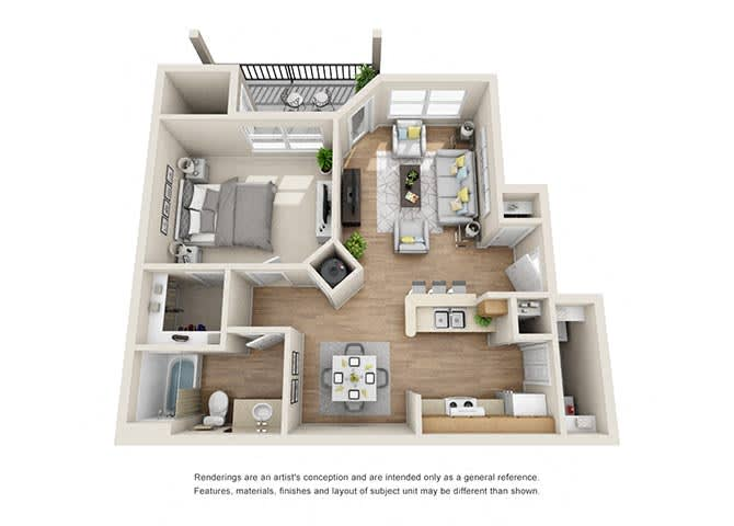Carlyle 1 Bedroom 1 Bath 811 sq. ft.