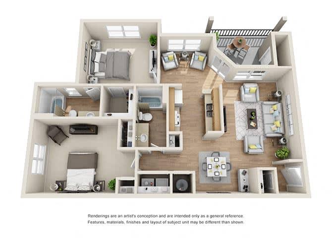 Paramount | 2 Bedroom | 2 Bath | 1166 sq. ft.