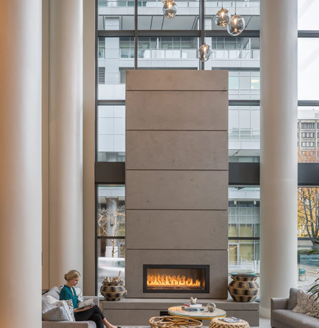 Posh Lounge Area With Fireplace In Clubhouse at Two Lincoln Tower, Bellevue