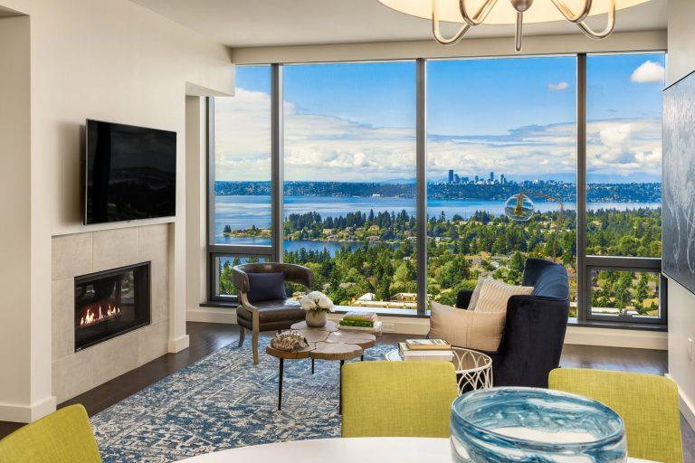 Living Room Remodel With Fireplace at Two Lincoln Tower, Bellevue, WA, 98004