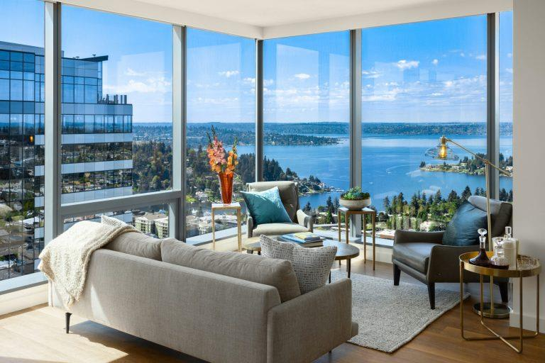 Living Room With Oversized Windows And Doors at Two Lincoln Tower, Bellevue