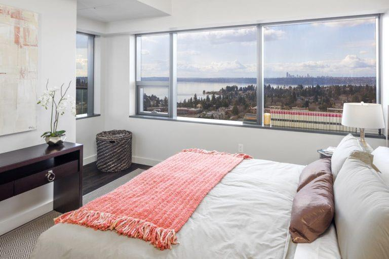Spacious Bedroom With Comfortable Bed at Two Lincoln Tower, Bellevue, WA, 98004