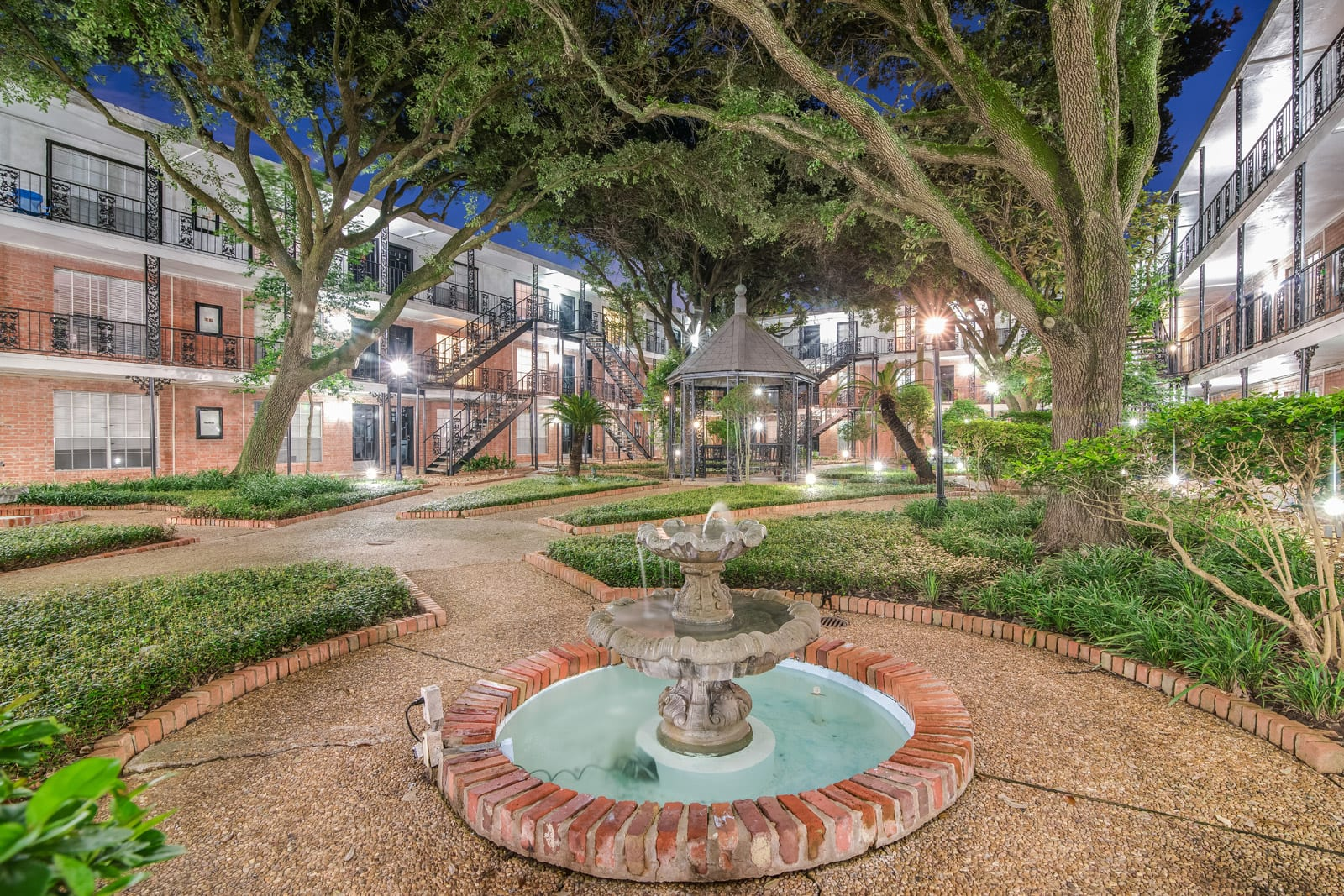 Beautiful New Orleans Style Courtyards at Allen House Apartments, Houston, TX