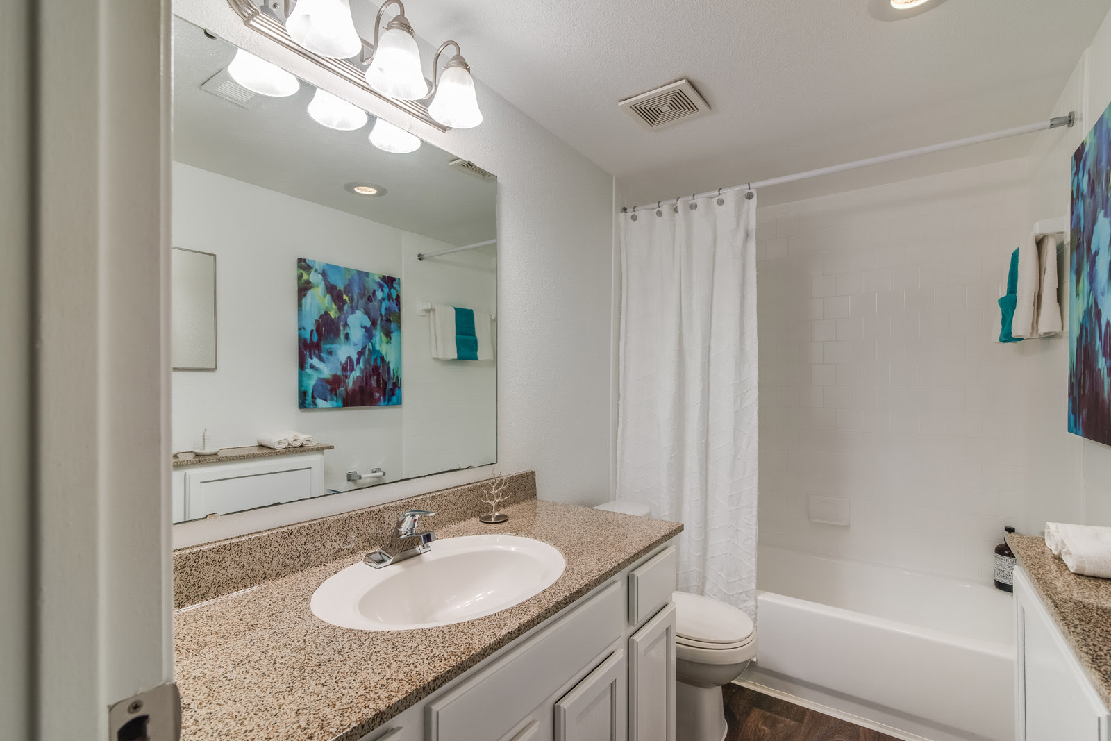 Brushed Nickel Light Fixtures at Allen House Apartments, Houston, Texas