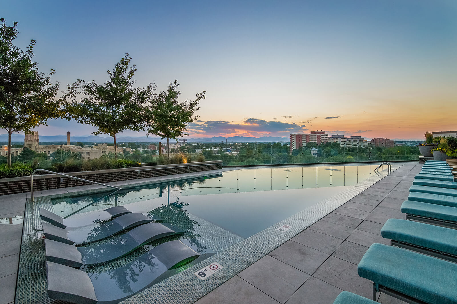 Invigorating Infinity Edge Pool with Stunning Views at 1000 Speer by Windsor, 1000 Speer Blvd., Denver