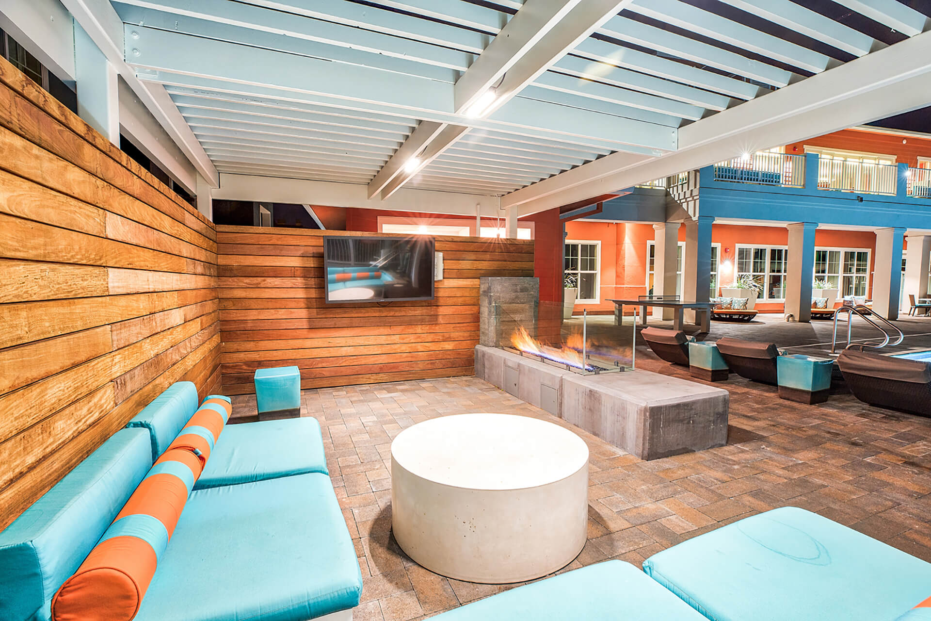 Courtyards with fire pit at Blu Harbor by Windsor, 1 Blu Harbor Blvd, Redwood City