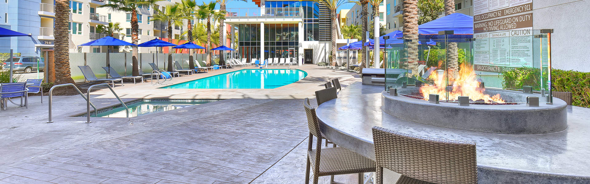 Pool, sundeck and fire pit at Boardwalk by Windsor, CA, 92647