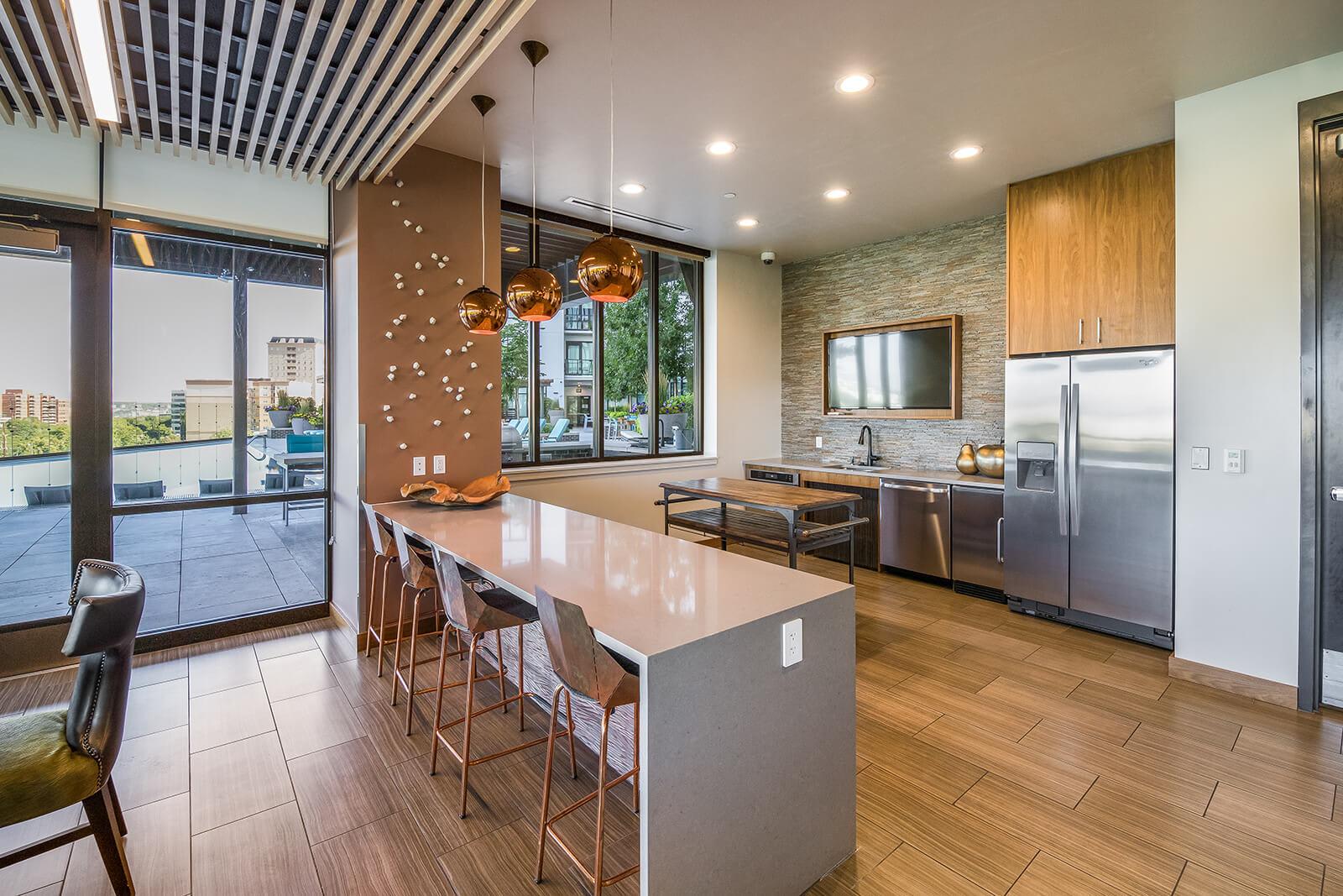 Full Kitchen In Clubroom at 1000 Speer by Windsor, Denver, Colorado