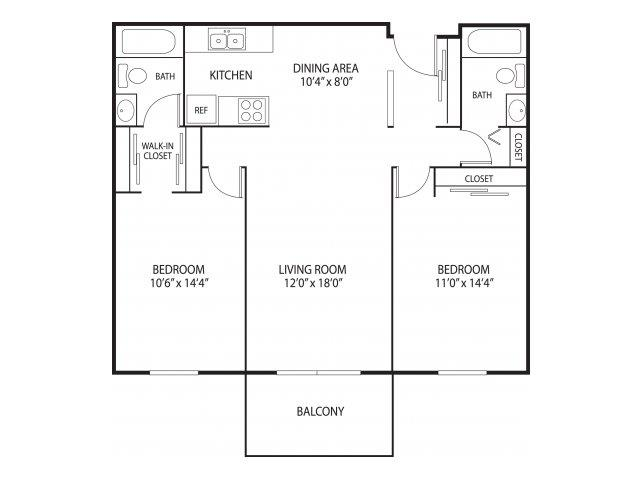 Willow Creek Apartments in Plymouth, MN 2 Bedroom 2 Bath