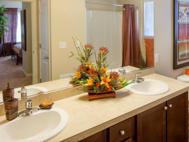 The Landing Apartments Model Townhome Bathroom With Dual Sinks