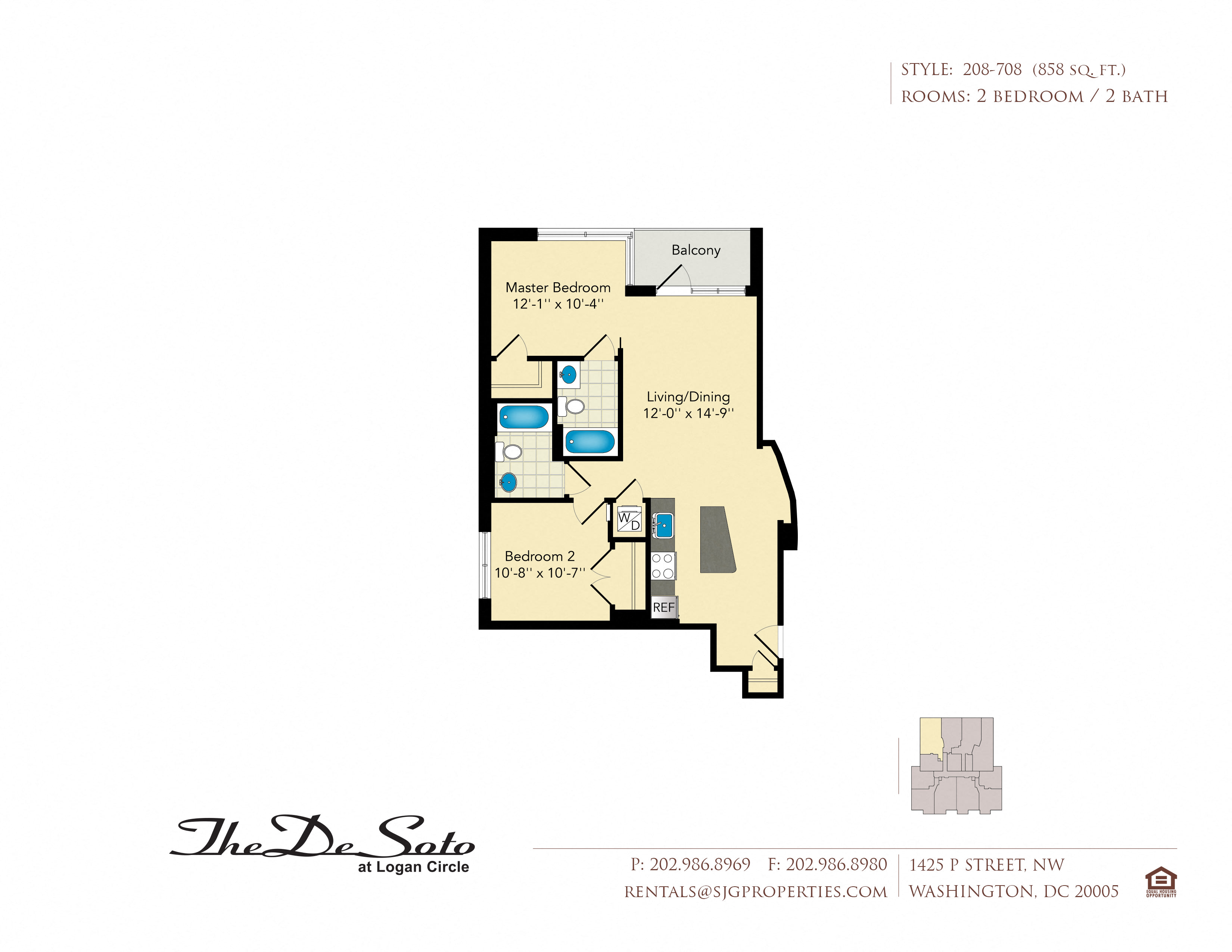 The DeSoto 08 Floor Plan at The DeSoto Apartments, Washington, DC, 20005
