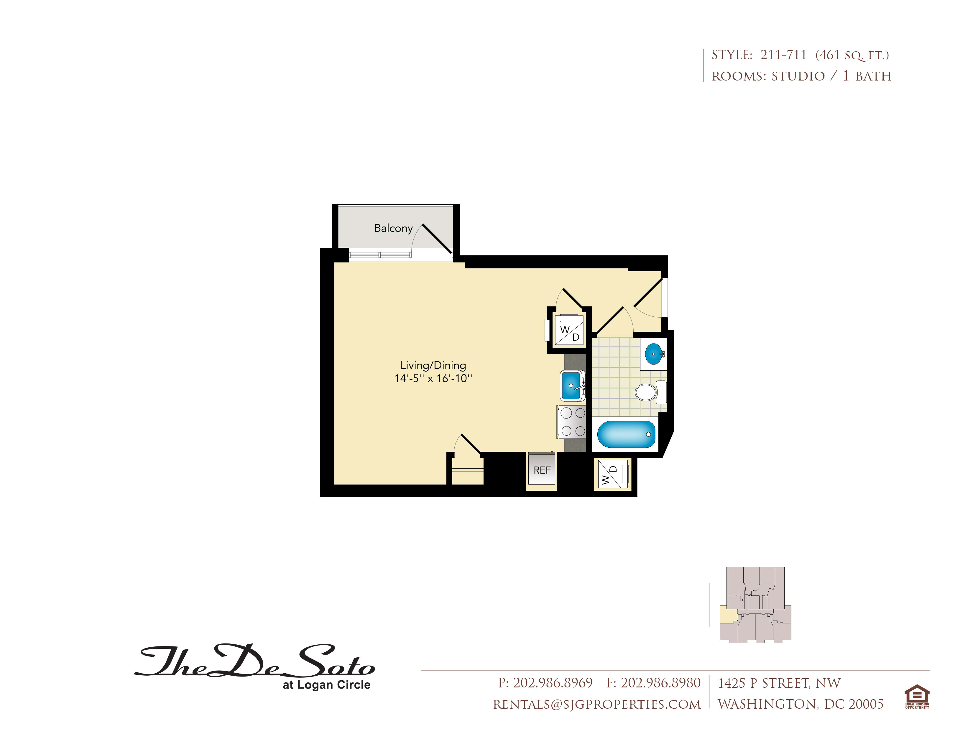 The DeSoto 11 Floor Plan at The DeSoto Apartments, District of Columbia ,20005