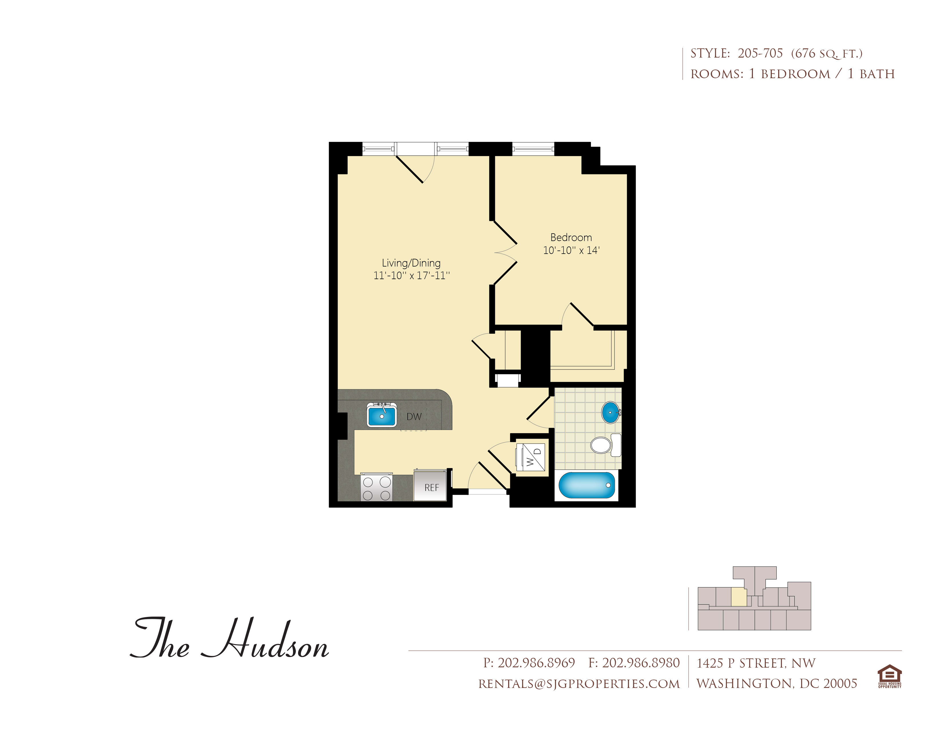 The Hudson 05 Floor Plan at The Hudson Apartments, District of Columbia, 20005