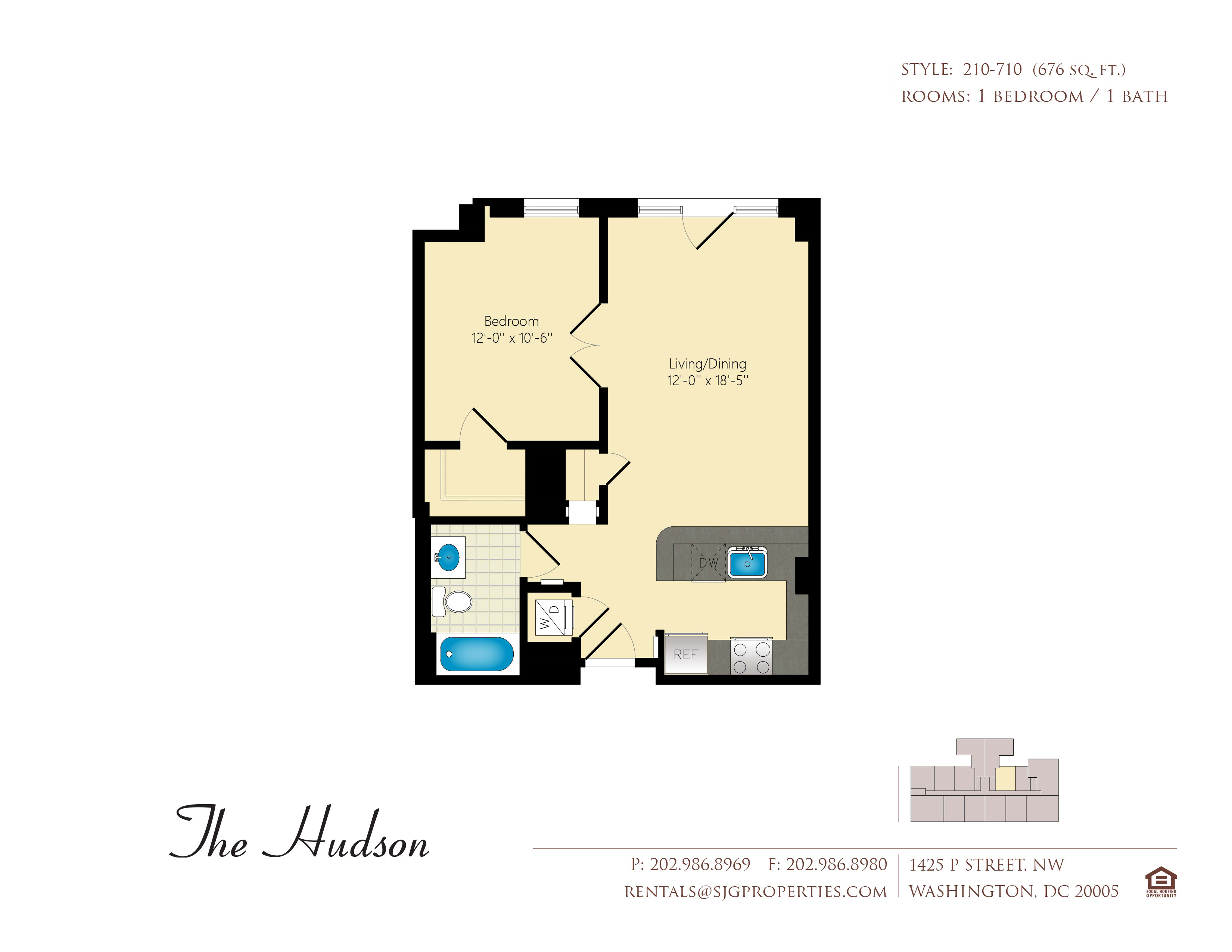 The Hudson 10 Floor Plan at The Hudson Apartments, DC
