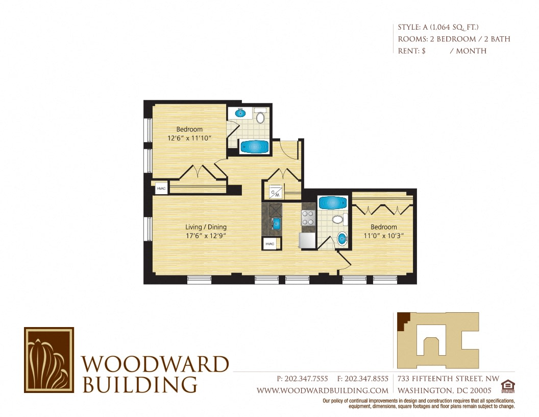 Floor Plan A Woodward at The Woodward Building Apartments, District of Columbia, 20005