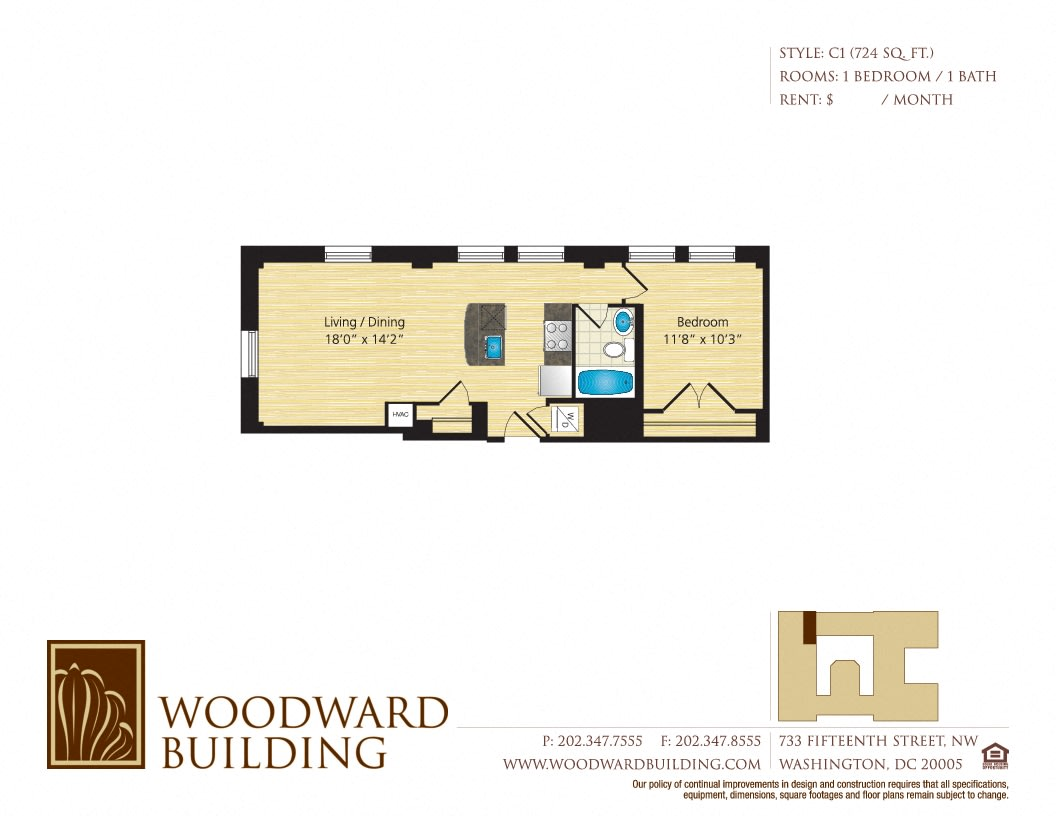 Floor Plan C1 Woodward at The Woodward Building Apartments, DC, 20005