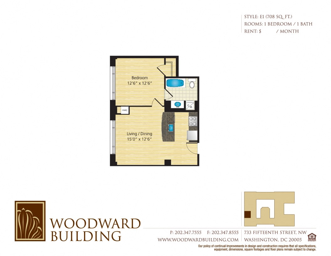Floor Plan E1 Woodward at The Woodward Building Apartments, Washington, DC, 20005