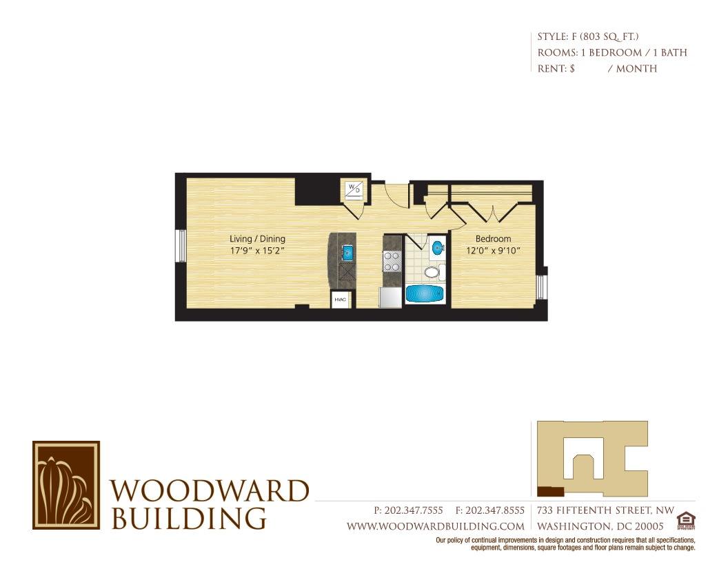Floor Plan F Woodward at The Woodward Building Apartments, Washington, DC, 20005