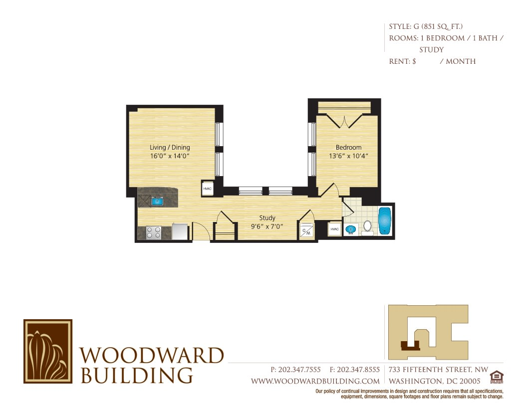 Floor Plan G Woodward at The Woodward Building Apartments, District of Columbia , 20005
