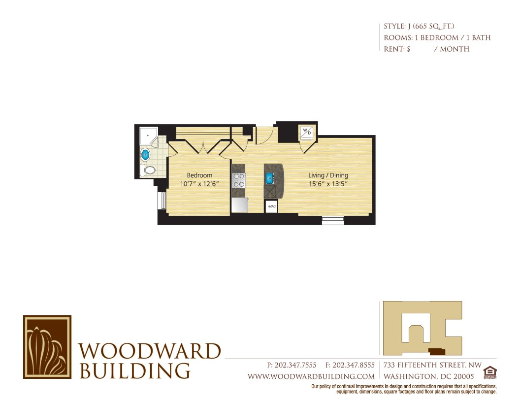 Floor Plan J Woodward at The Woodward Building Apartments, District of Columbia, 20005