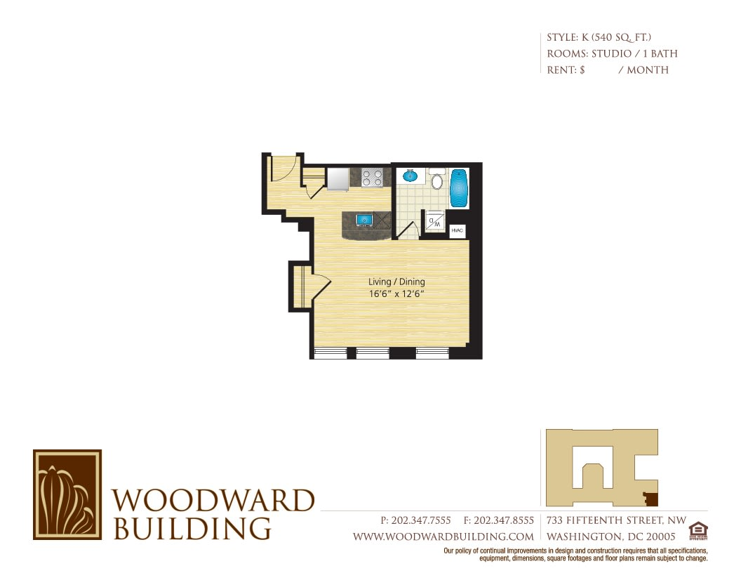 Floor Plan K Woodward at The Woodward Building Apartments, Washington, DC, 20005