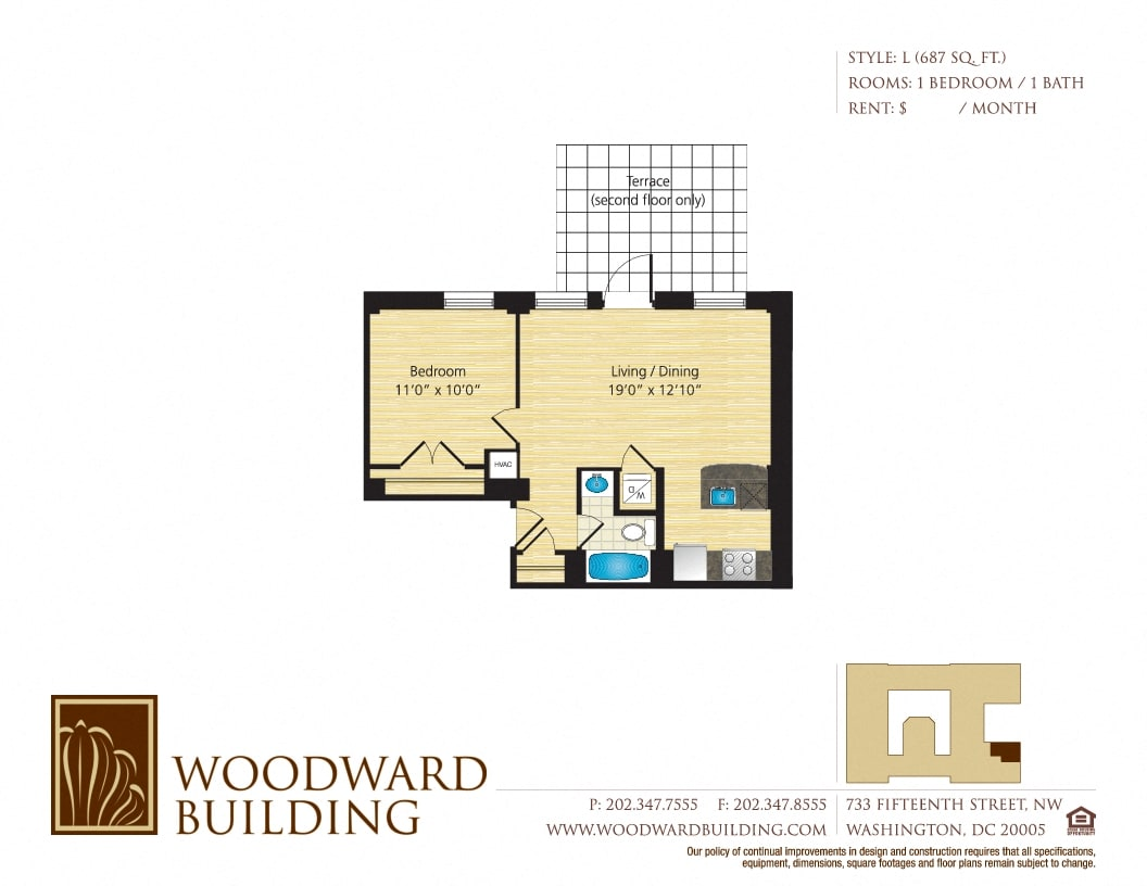 Floor Plan L Woodward at The Woodward Building Apartments, Washington, DC