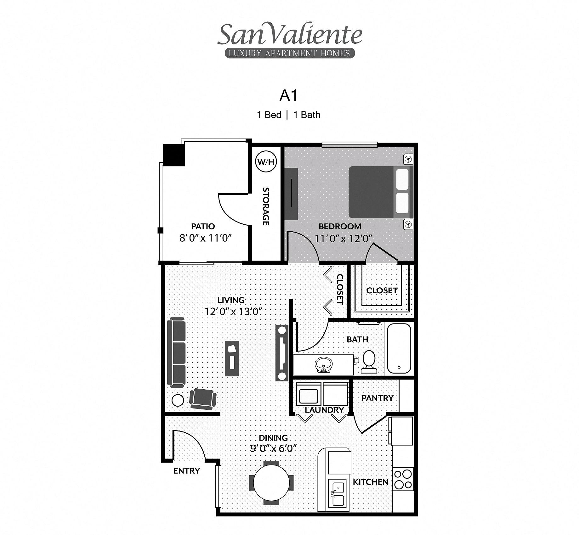 San Valiente : A1 Floorplan : 1B/1B