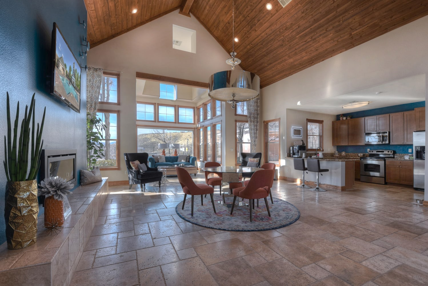 Clubhouse with Large Screen Television at Manzanita Gate Apartment Homes, 2475 Robb Drive, NV