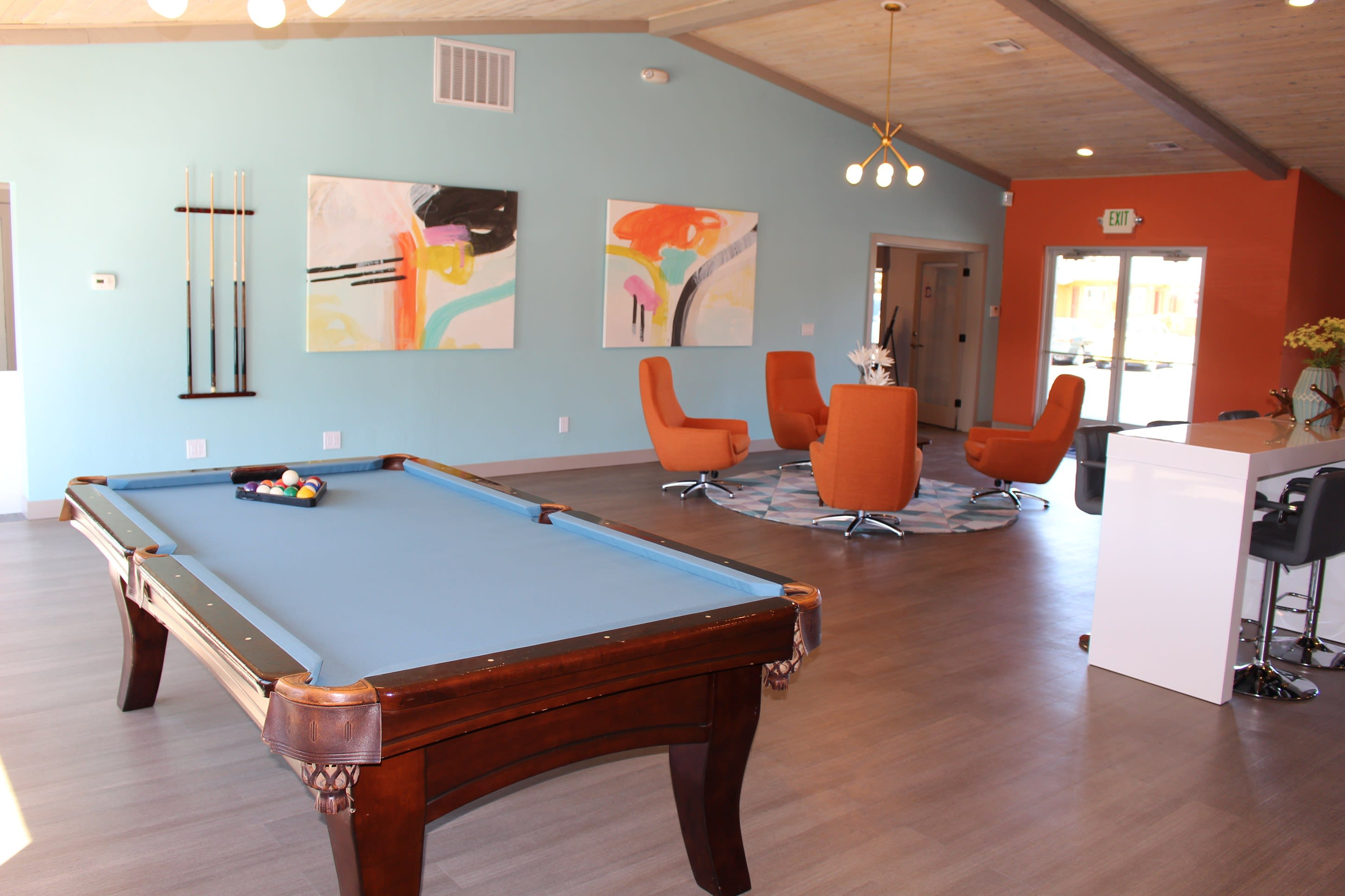 Pool Table in CLubhouse at Village at Iron Blossom Apartment Homes, Reno, Nevada