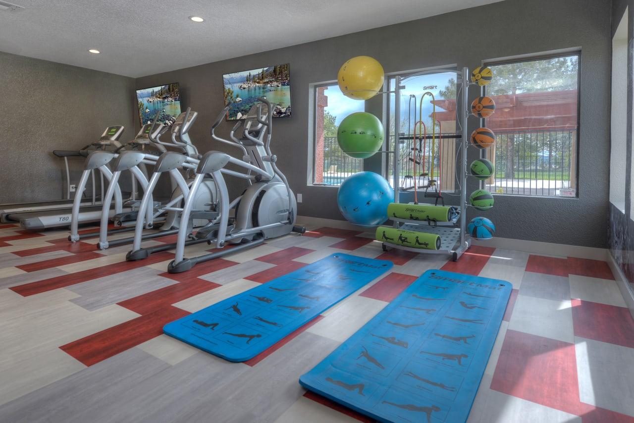 Yoga & Cardio Equipment at Vizcaya Hilltop Apartment Homes, Reno, NV
